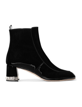 Crystal Embellished Patent Leather Ankle Boots by Miu Miu