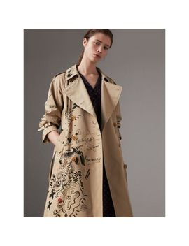 Sketch Print Cotton Gabardine Trench Coat by Burberry