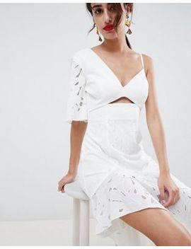 Asos Design Scuba Mix Broderie Lace Midi Dress by Asos Design