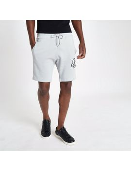 Grey Embroidered Slim Fit Shorts by River Island