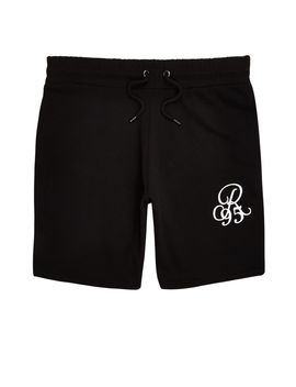 Black Embroidered Slim Fit Shorts by River Island