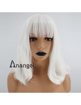Anogol Synthetic Wig White Short Bob Wavy Puffy Fluffy Wigs With Bangs Hair by Unbranded/Generic