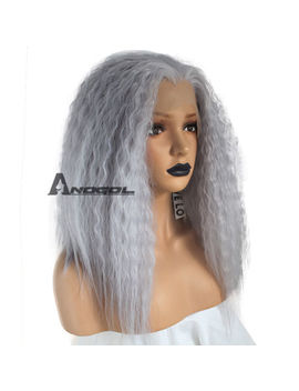 Anogol Gray Kinky Curly Lace Front Wig Synthetic Hair Should Length Yaki Wigs by Unbranded/Generic