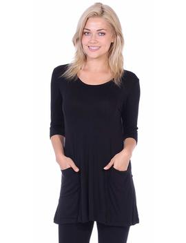 Popana Women's Tunics With Pockets   Loose Fit Round Neck Tunic Top To Wear With Leggings   Made In Usa by Popana