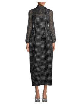 Long Sleeve Polka Dot Maxi Dress by Valentino