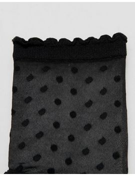 Monki Polka Dot Mesh Sock In Black With Dots by Monki