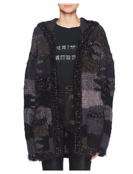 No Closure Metallic Camo Textured Oversized Cardigan by Saint Laurent