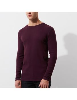 Donkerrood Slim Fit T Shirt Met Lange Mouwen by River Island