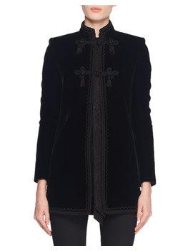 Mandarin Collar Frog Closure Velvet Coat W/ Border Trim by Saint Laurent