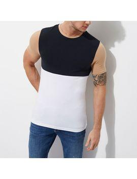 Wit Met Marineblauw Aansluitend T Shirt Met Kleurvlakken by River Island