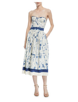 Sheena Painted Strapless Cotton Dress by Ralph Lauren Collection