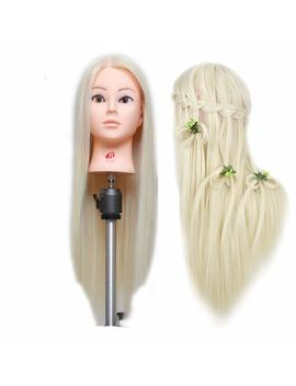 26''blonde Professional Styling Head Wig Head Stand Women Makeup Hairdressing Dummy Doll Training Mannequin Head by Amazon