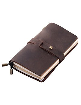 """Leather Travel Journal, Handmade Travelers Notebook Refillable, Gift For Men & Women, Perfect To Write In, Medium Vintage Travel Diary 6.7"""" X 4"""", 3 Inserts, 192 Pages   Coffee by Robrasim"""