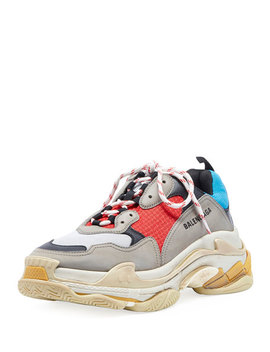 Men's Triple S Mesh & Leather Sneakers, Blue by Balenciaga