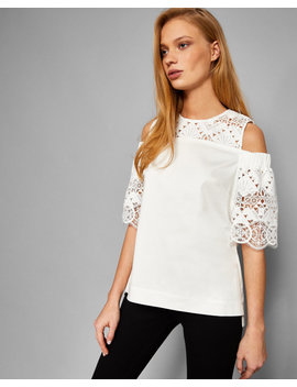Cold Shoulder Lace Detail Top by Ted Baker