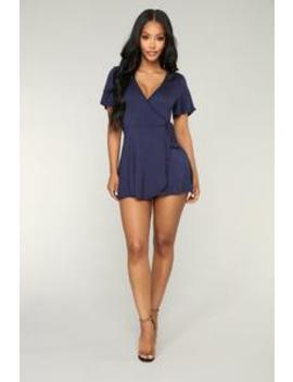 Rhonda Wrap Romper   Navy by Fashion Nova
