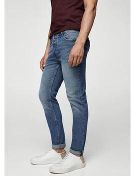 Slim Fit Dark Vintage Wash Tim Jeans by Mango
