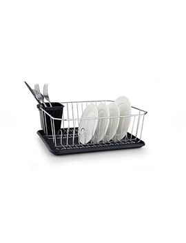 Furniture Xtra Stainless Steel Dish Drainer With Plastic Drip Tray And Cutlery Holder (Square Drainer Black) by Amazon