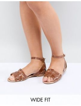 Park Lane Wide Fit Leather Summer Shoes by Flat Shoes