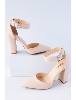 Yancy Nude Ankle Strap Heels by Lulu's