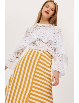 Petite Broderie Ruffle Top by Topshop