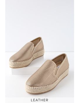 Wright Gold Leather Perforated Slip On Espadrille Sneakers by Lulu's