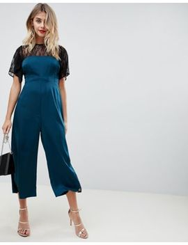Asos Design Tea Jumpsuit In Satin With Lace Detail by Asos Design