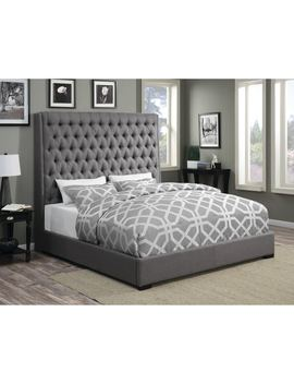 Camille Grey Upholstered Bed by Coaster