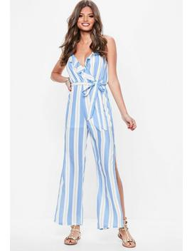 White Frill Front Detail Tie Waist Jumpsuit by Missguided