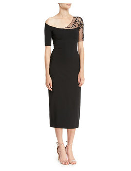 One Shoulder Short Sleeve Pencil Cocktail Dress W/ Lace Detail by Cushnie Et Ochs