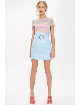 High Waist Leather Mini Skirt by Topshop