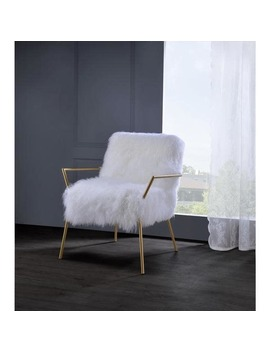 Acme Furniture Bagley Gold And White Wool Accent Chair by Generic