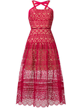 Self Portraitfloral Lace Midi Dresshome Women Clothing Cocktail & Party Dresses Pink Chloe 85 Fabric Buckle Strap Mulesfloral Lace Midi Dress by Self Portrait