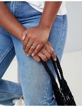 Asos Design Curve Pack Of 12 Fine Rings With Crystal In Gold by Asos Design