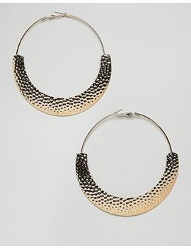 Asos Design Hoop Earrings With Hammered Detail In Gold by Asos Design