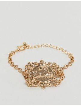 Asos Design Bracelet With Vintage Style Filigree Icon Square Pendant In Gold by Asos Design