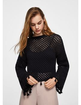 Recycled Cotton Openwork Sweater by Mango