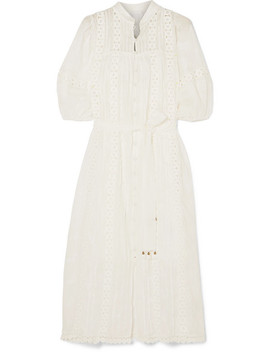 Castile Crochet Paneled Embroidered Ramie Dress by Zimmermann