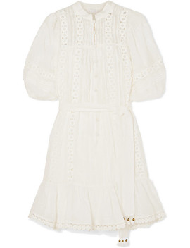 Castile Crochet Paneled Embroidered Ramie Mini Dress by Zimmermann