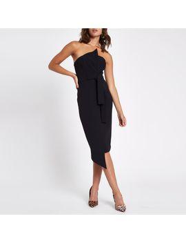 Black Bandeau Bodycon Midi Dress by River Island