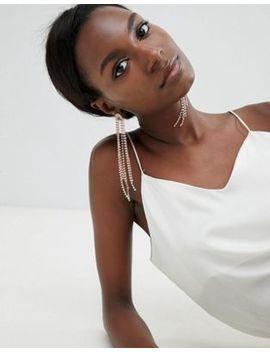 True Decadence Rose Gold Diamante Drop Earrings by True Decadence