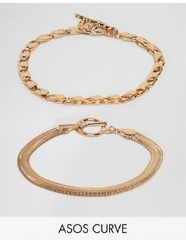 Asos Design Curve Pack Of 2 Bracelets With Heavyweight Chain And Flat Rope Chain Gold by Asos Design