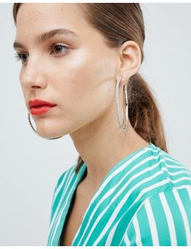 Asos Design Hoop Earrings With Crystals In Silver by Asos Design