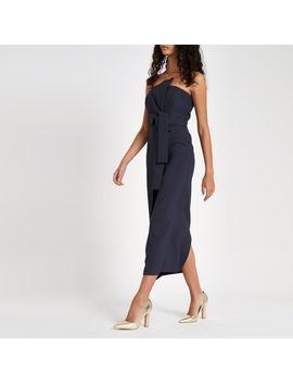 Navy Tie Front Bardot Bodycon Maxi Dress by River Island