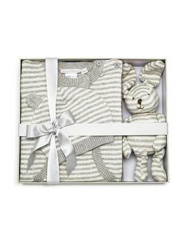 Unisex Striped Coverall, Hat & Bunny Gift Set, Baby   100 Percents Exclusive by Elegant Baby