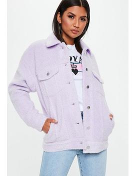 Lilac Oversized Borg Trucker Jacket by Missguided