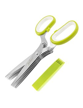 Jenaluca Herb Scissors   Heavy Duty 5 Blade Kitchen Shears With Safety Cover by Jenaluca
