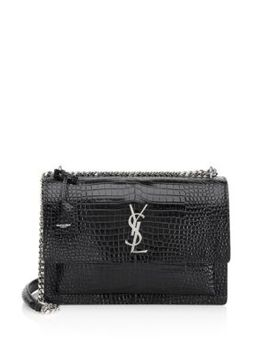 Large Stamped Crocodile Shoulder Bag by Saint Laurent