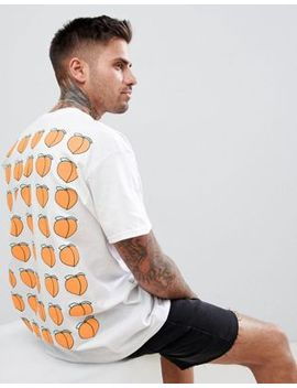 New Love Club Peach Repeat Back Print T Shirt by New Love Club
