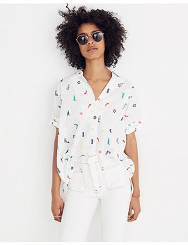 Summer Friday Embroidered Courier Button Back Shirt by Madewell